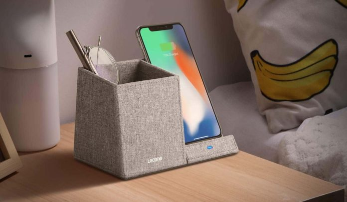Lecone 10W Fast Wireless Charger with Desk Organizer Qi Certified Fabric Induction Charger Stand Pen Pencil Holder -min