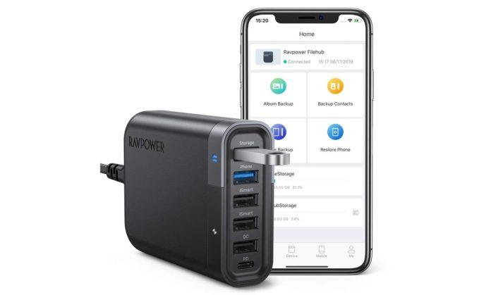 USB Charging Station, RAVPower 60W 6-Port USB C Charger Filehub-min