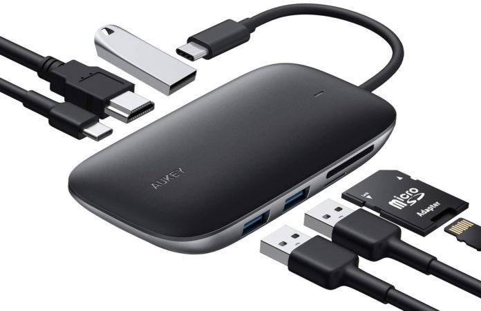 AUKEY USB C Hub 7 in 1 Type C Hub -min