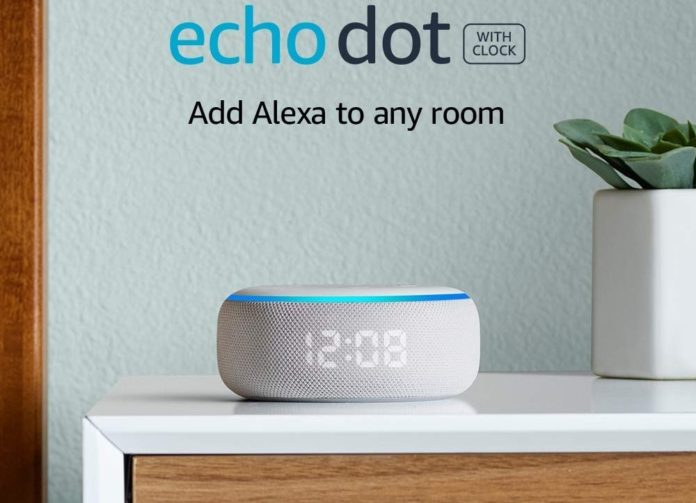 _All-new Echo Dot (3rd Gen) - Smart speaker with clock and Alexa - Sandstone-min