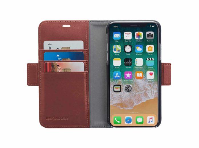 AmazonBasics iPhone X PU Leather Wallet Detachable Case-min