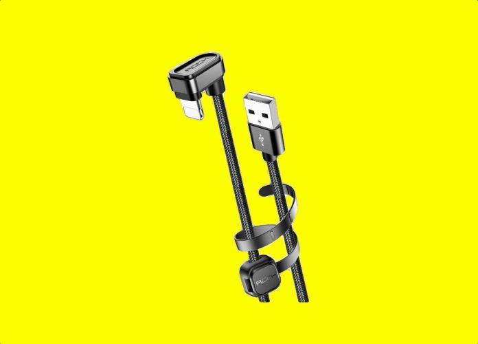 ROCK SPACE 3.3ft:1M 180 Degree Angle U-Shaped Nylon Braided Charging Cord