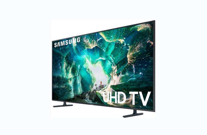 Samsung UN75RU8000FXZA Flat 75-Inch 4K 8 Series Ultra HD Smart TV with HDR and Alexa Compatibility (2019 Model) -min