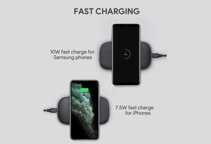 AUKEY Wireless Charger, 3-Coil 10W Wireless Fast Charging Pad