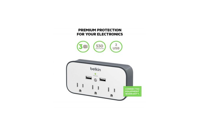 Belkin 3-Outlet Wall Mount Cradle Surge Protector with Dual USB Charging Ports