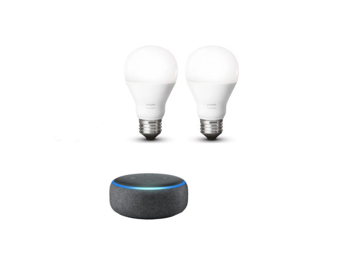 Echo Dot (3rd Gen) Charcoal Bundle with Philips Hue White-min