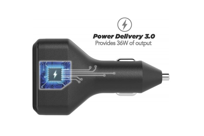 SCOSCHE Powervolt 36W Dual Port USB Type-C Car Charger-min