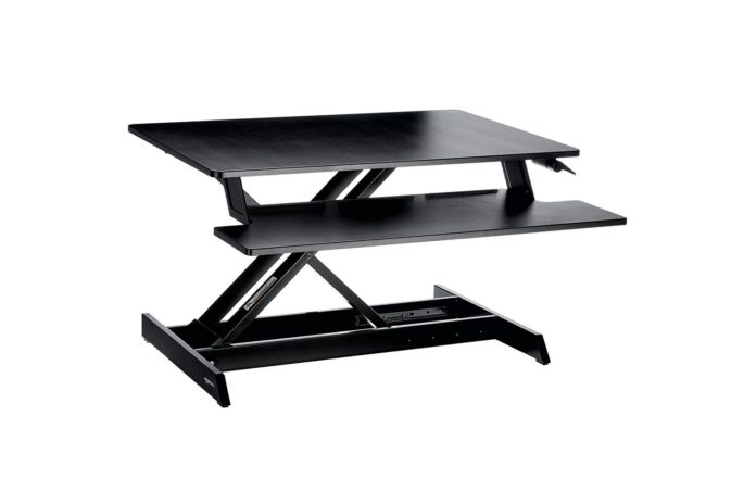 AmazonBasics Height Adjustable Standing Desk Converter with Keyboard Tray