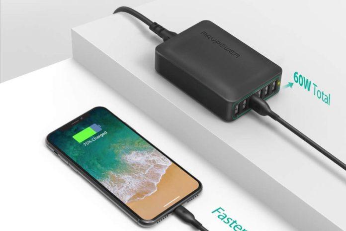 USB Charger RAVPower 60W 12A 6-Port Desktop USB Charging Station