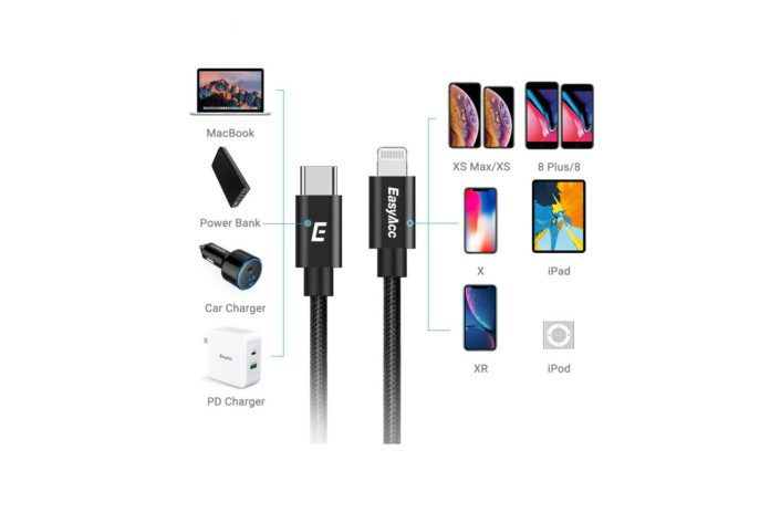 Easyacc 6ft USB C to Lightning Cable