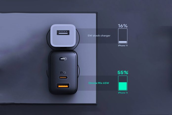 USB C Charger AUKEY Omnia 65W Fast Charger (Dual Port USB C PD 3.0 Plus USB A)