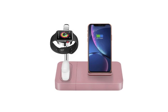 Wireless Charger Stand Rose Gold 3 in 1 Phone Qi Watch Dock 7.5W