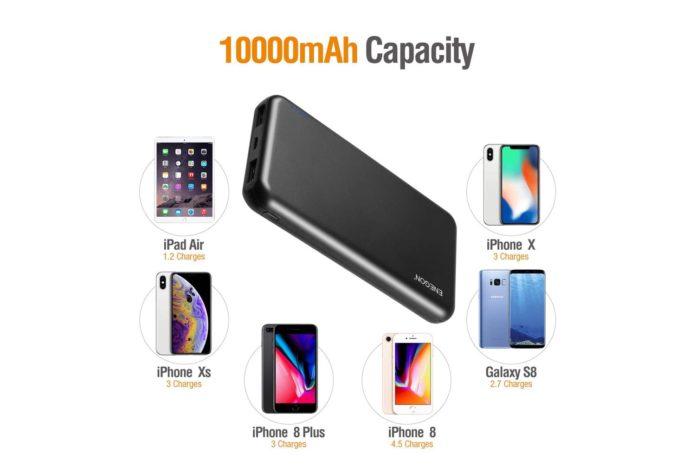 ENEGON 2-Pack Portable Power Bank 10000mAh