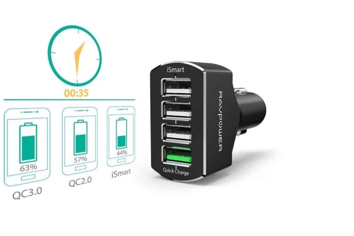 RAVPower Quick Charge 3.0 54W Car Adapter with iSmart 2.0 Tech