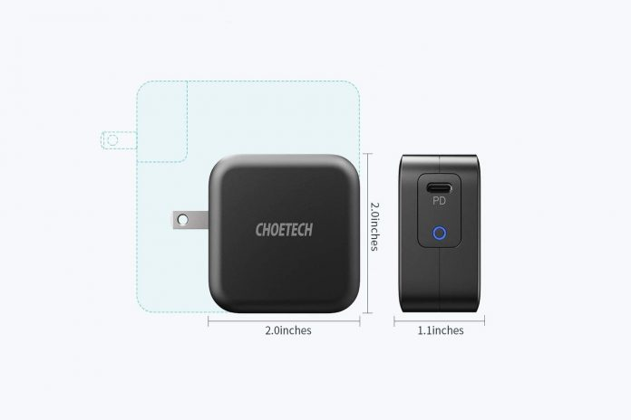 CHOETECH 61W Power Delivery Fast Charger [PD 3.0 & GaN Tech] Type C Foldable Wall Charger