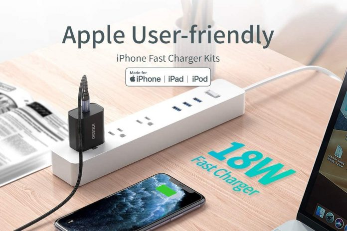 CHOETECH USB C Charger 18W PD Wall Charger with 4FT Nylon Braided USB-C to Lightning Cable-min
