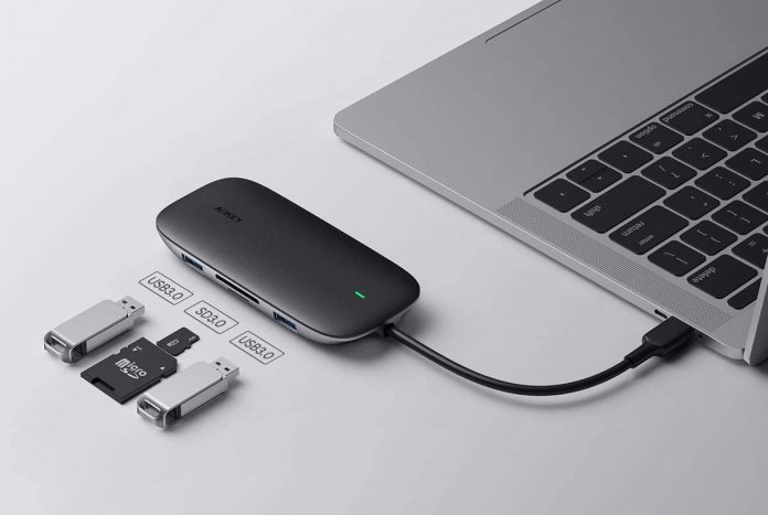 AUKEY 8-in-1 Type C Adapter with Ethernet Port,