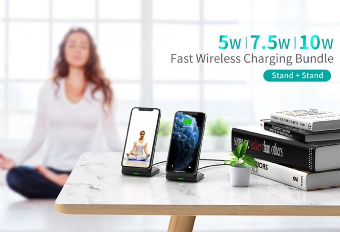 CHOETECH Wireless Charger, [2 Pack] 10W Max Qi-Certified Fast Wireless Charging Stand