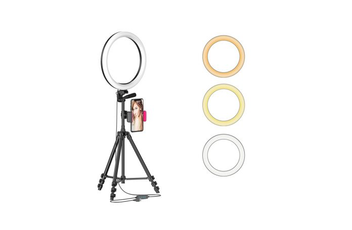 12 LED Selfie Ring Light with Tripod Stand & Cellphone Holder