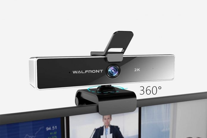 Walfront 2K QHD Webcam with Privacy Cover & Dual Microphones