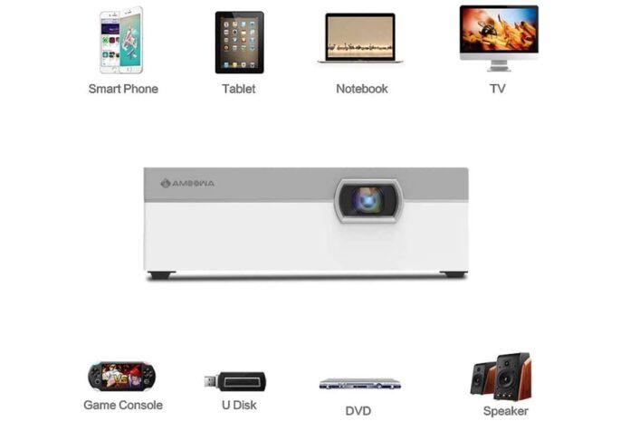 Amoowa Mini Projector - Portable WiFi Video Projector