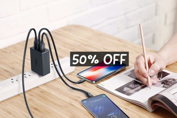 three-port AUKEY USB Wall Charger