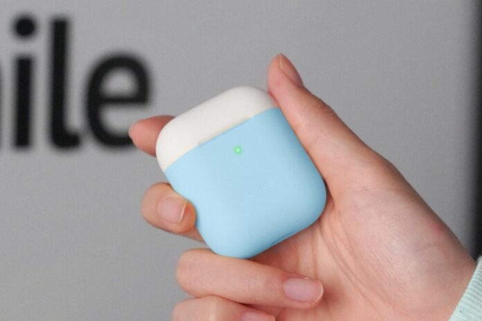 elago Duo Silicone Case Designed for Apple AirPods Case, 2 Caps + 1 Body [ Pink, White + Pastel Blue
