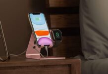 OMOTON 2 in 1 Universal Desktop Stand Holder for iPhone and Apple Watch