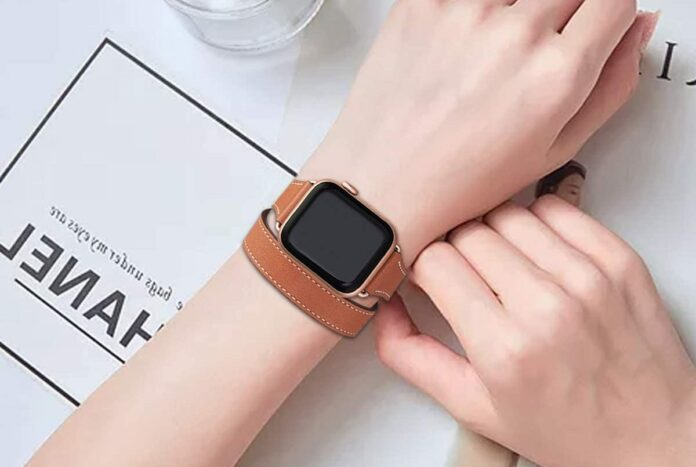 Bestig Genuine Leather Double Tour Designed Apple Watch band