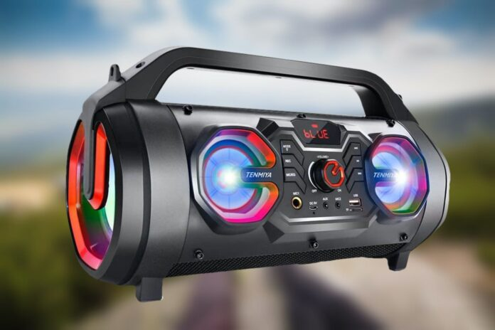 TENMIYA 30W Loud Outdoor Speakers with Subwoofer, FM Radio, RGB Colorful Light