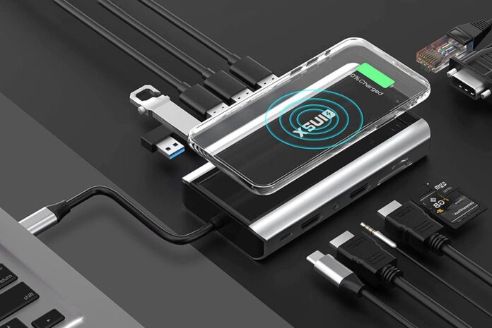 XSUID 14-in-1 USB-C Hub Docking Station with Wireless Qi Charging