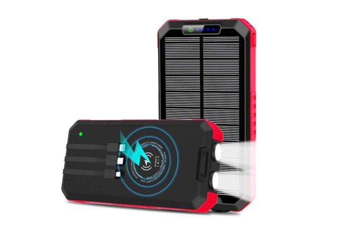 OIMYE 30000mAh Wireless Portable Solar Power Bank