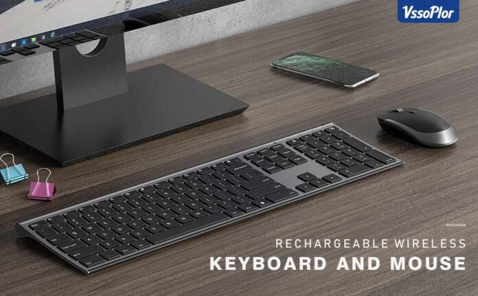 Vssoplor 2.4GHz Rechargeable Compact Quiet Full-Size Keyboard and Mouse Combo