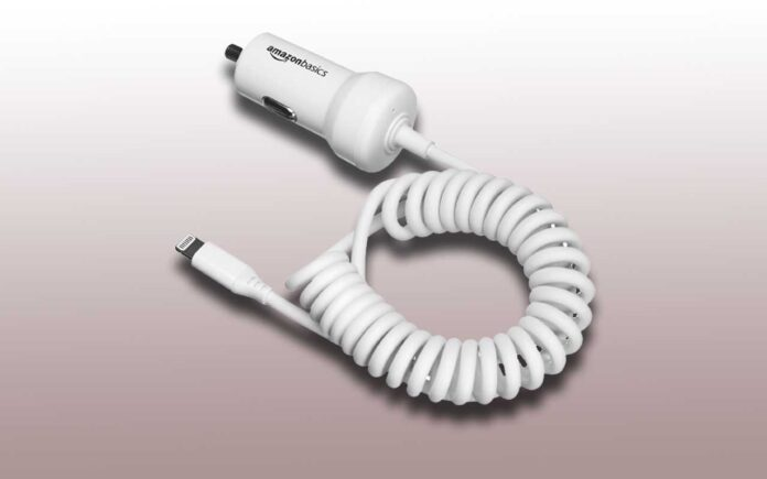 Amazon Basics Coiled Cable Lightning Car Charger