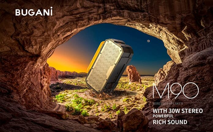 Bugani M90 Portable Bluetooth Speaker with 30W Stereo Sound