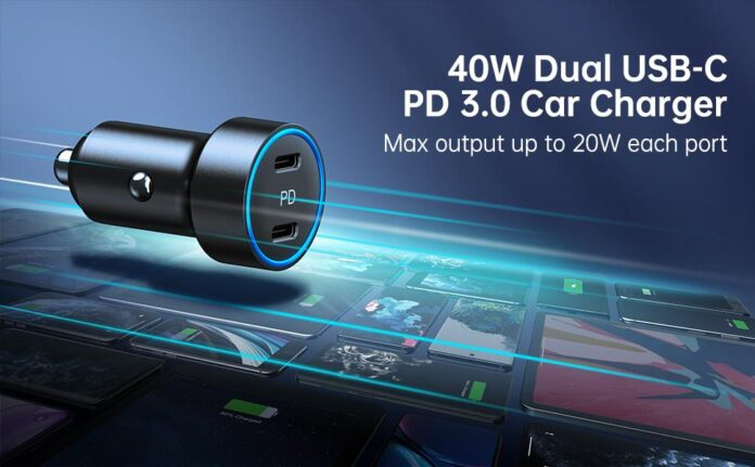 CHOETECH 40W 2-Port All Metal Fast Car Charger