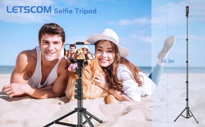 LETSCOM 65-inch Extendable Selfie Stick Tripod Stand with Phone Holder