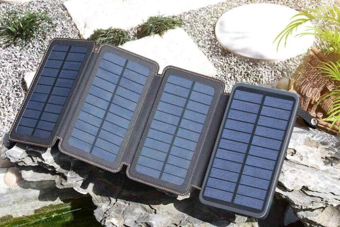 ADDTOP 25000mAh Portable Solar Phone Charger Power Bank with 4 Solar Panels