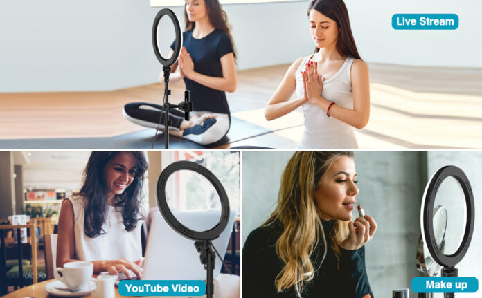 Erligpowht Upgrade 10inch Selfie Ring Light with Tripod Stand and Phone Holder